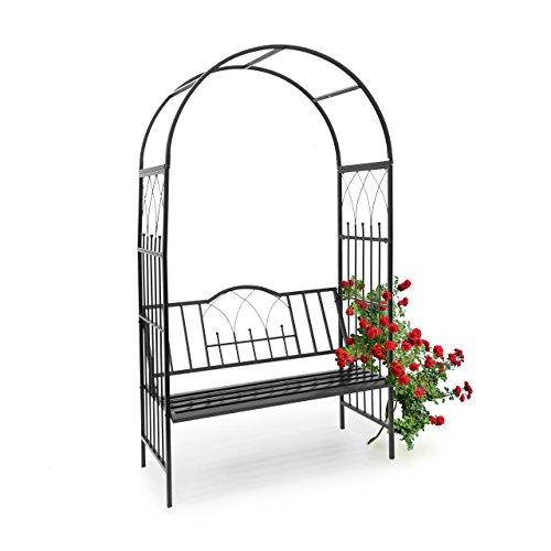 Relaxdays Rosenbogen mit Bank HBT 203 x 1145 x 59 cm Rankgitter aus pulverbeschichtetem Eisen mit Sitzbank für 2 Personen und schöner Verzierung Rankhilfe für Rosen Kletterpflanzen schwarz10020032