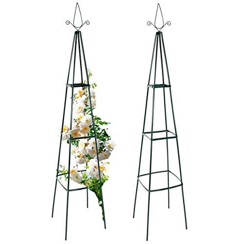 Rosenpyramide Rankhilfe für Pflanzen Rankgerüst Rankturm aus Metall 40 x 40 x 200 cm 12er Set 2 Stück