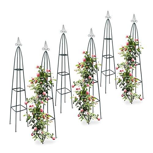 6x Rankturm Garten Obelisk freistehende Rankhilfe für Kletterpflanzen Ranksäule Metall HBT 192 x 35 x 35 cm grün