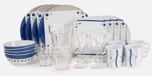 Melamingeschirr Cubic Blue Starterset 24 Teile inkl 4xWeinglass  4x Trinkglass
