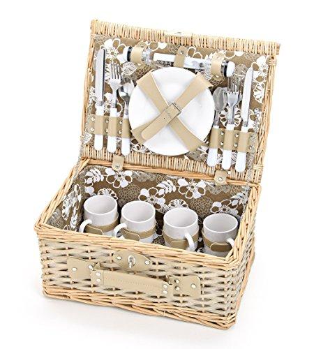 Picknickkorb für 4 Personen aus Weide mit Blumen Muster 24 teilig - Hochwertiger Picknickkkoffer mit Deckel Geschirr Set Zubehör - Grün Weiß