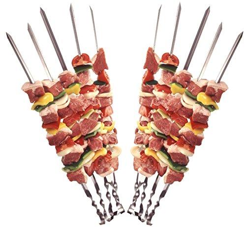STAR-LINE 24 Grillspieße Schaschlikspieße aus Edelstahl 60cm  Fleischspieße für BBQ Grill  Kebab Spieße  Schampura für Mangal