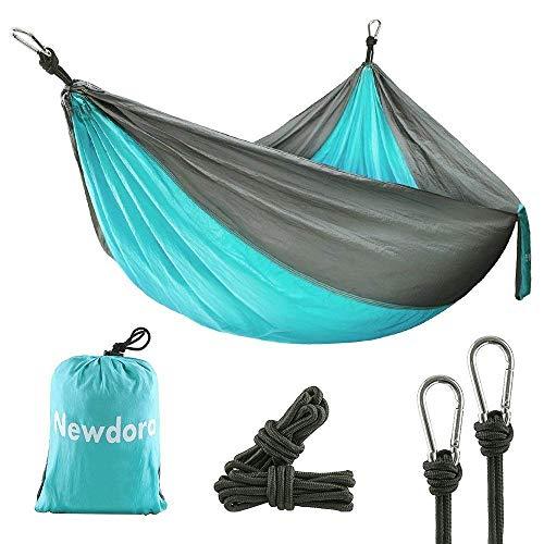 Newdora Hängematte Tragbar Haengematte Picknickdecke Tuchhängematte(270 x 140 cm belastbar bis 300 kg für Backpacker Camping Jagen Strand Hof
