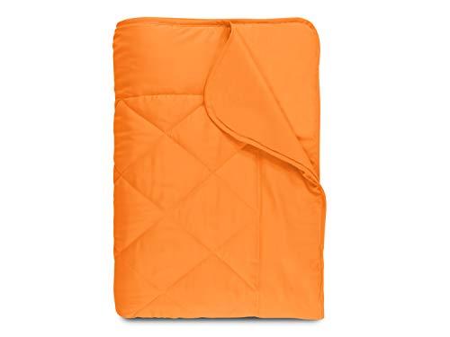 npluseins Sommerdecke - Picknickdecke - Leichtbettdecke - in 2 Größen und in 7 modernen Farben ca 155 x 220 cm orange