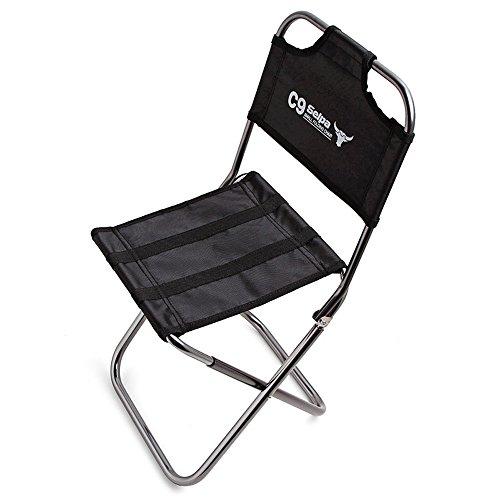 EVIICC Campingstuhl Campingstühle faltbar klappbar tragbar Angel Stuhl Camping Stuhl Angelstuhl Klapphocker Faltstuhl Rückenlehne mit kleinem Packmaß Schwarz