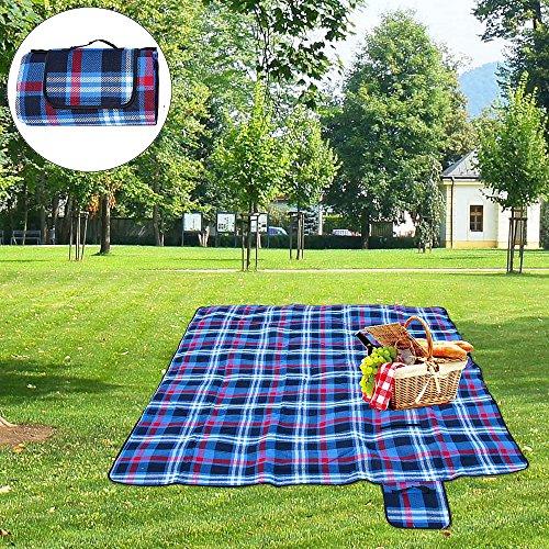 Melko Picknickdecke Reisedecke Campingdecke Gartendecke Stranddecke mit Tragegriff 200 x 200 cm SchwarzBlau Kariert