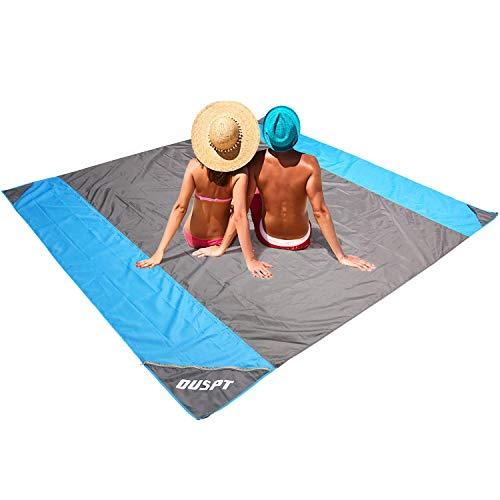 OUSPT PicknickdeckeStranddecke Campingdecke Strandtuch 210 x 200 cm Picknickdecke Campingdecke Strandtuch 4 Befestigung Ecken Ultraleicht kompakt Wasserdicht und sandabweisend Grau