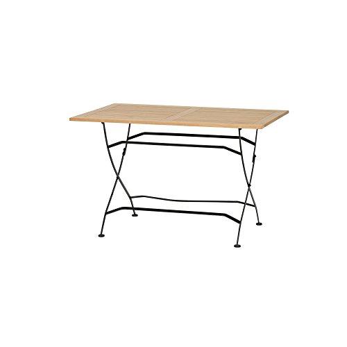 Siena Garden Klapptisch Peru II 120x80cm Gestell Stahl pulverbeschichtet in schwarz Tischplatte Teakholz FSC Mix