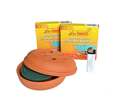 22 Anti-Mückenspiralen Mückenabwehr Insektenspirale extra stark  passenden Tontopf  Feuerzeug