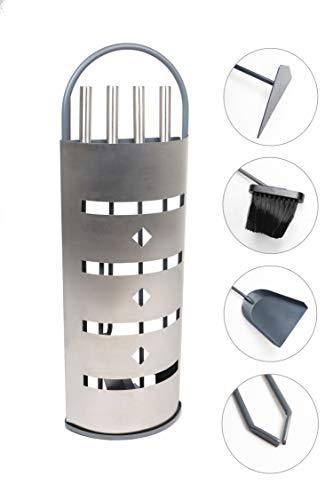 4-teiliges Kaminbesteck Kamingarnitur Ofenbesteck aus Edelstahl mit Edelstahlgriffen by MS Beschläge