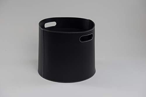 Holzkorb Korb für Kaminholz Leder schwarz