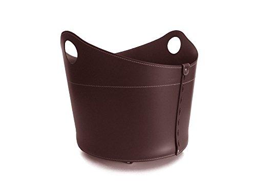 CADIN Kaminholzkorb aus Leder Farbe Dunkelbraun Holzkorb Feuerholzkorb Brennholzkorb Exlusivdesign Firestyle Made in Italy