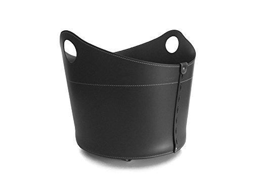 CADIN Kaminholzkorb aus Leder Farbe Schwarz Holzkorb Feuerholzkorb Brennholzkorb Exlusivdesign design Firestyle Made in Italy