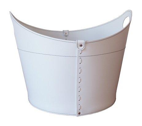 CADIN MINI Kaminholzkorb aus Leder Farbe weiß Holzkorb Feuerholzkorb Brennholzkorb Exlusivdesign design Firestyle Made in Italy