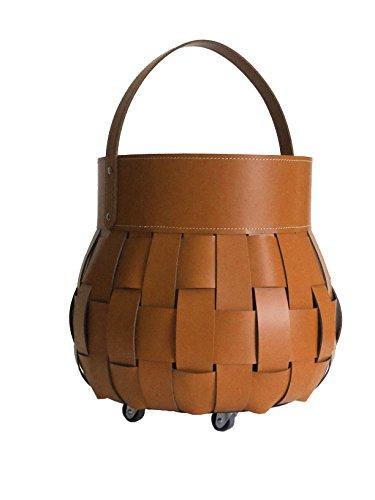 OVO Exlusivdesign aus Italien Kaminholzkorb Holzkorb Feuerholzkorb Brennholzkorb aus Leder Farbe Braun