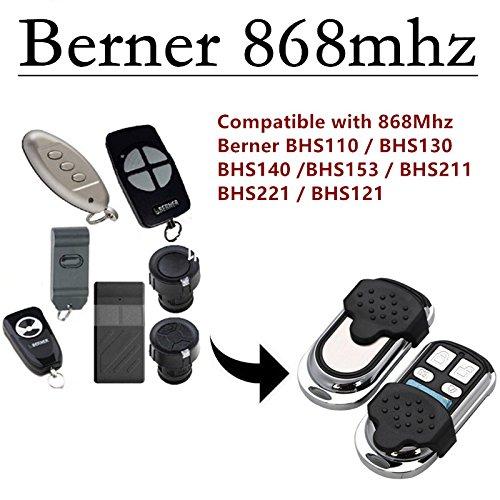BERNER BHS110BHS121BHS130BHS 140BHS153BHS211 Garagentor Sender Ersatz - 4 Befehl Fernbedienung 868 Mhz fix Code