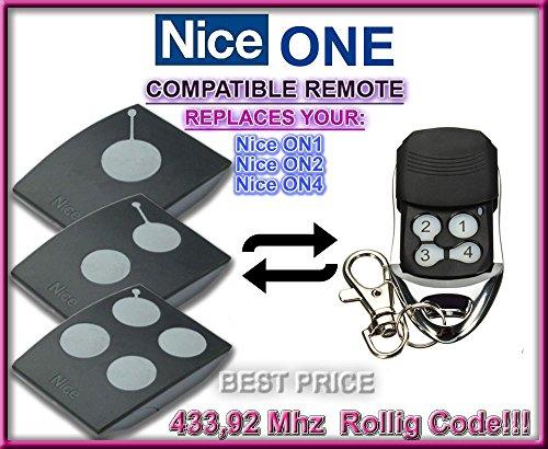 NICE Universal Garagentor Fernbedienung Sender Geeignet für Nice ON1  Nice ON2  Nice ON4 4 Kanal Kompatibel Handsender Rolling Code  43392 Mhz