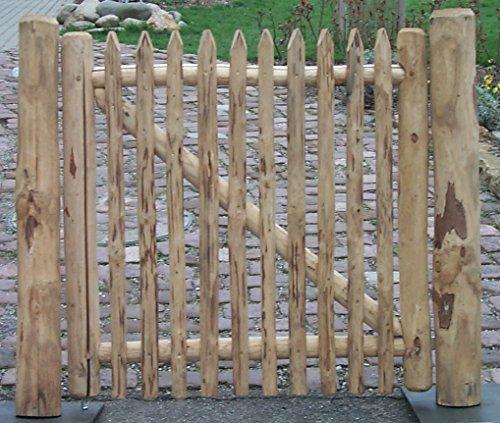 Gartenwelt Riegelsberger Zauntor aus Kastanienholz H120xB100 cm inkl Beschlagsatz naturgewachsen geschält Kastanie Einzeltor Flügeltor Tor Tür Holz Zaunlatte Latte Zaunbrett
