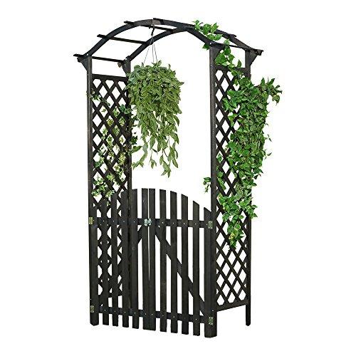 Melko Rosenbogen Torbogen aus Holz mit Tür 120 x 60 x 206 cm Extra Breit und groß Halb-Rund Schwarz – Ideale Rankhilfe Pergola für Den Garten