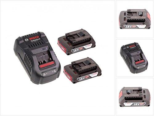 Bosch Akku Set mit 2 x GBA 2 Ah Akku und Ladegerät GAL 1880 CV für 144 V - 18 V Li-Ion