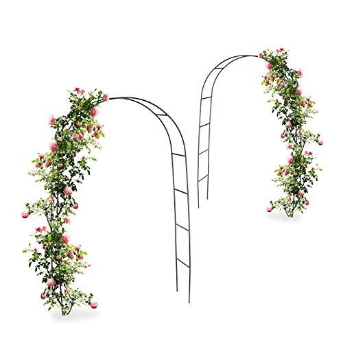 2x Torbogen Rankhilfe Kletterpflanzen Rosen Rosenbogen Metall witterungsbeständig HBT 240 x 140 x 38 cm dunkelgrün