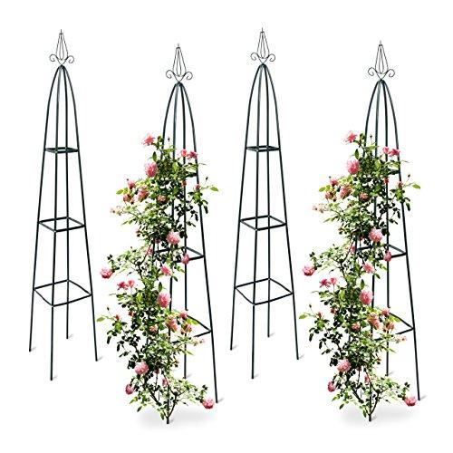 4x Rankturm Garten Obelisk freistehende Rankhilfe für Kletterpflanzen Ranksäule Metall HBT 192 x 35 x 35 cm grün