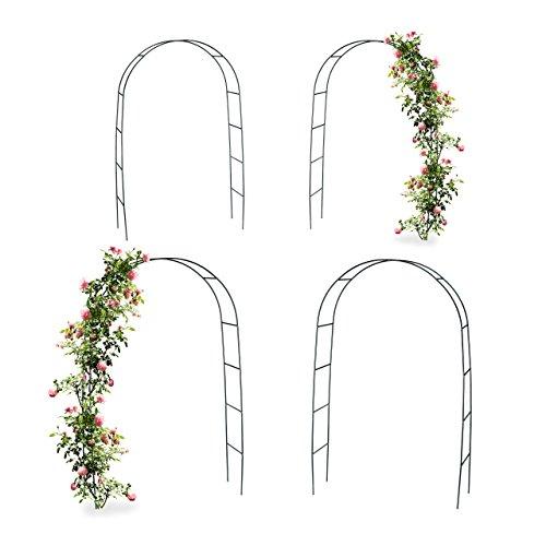 4x Torbogen Rankhilfe Kletterpflanzen Rosen Rosenbogen Metall witterungsbeständig HBT 240 x 140 x 38 cm dunkelgrün
