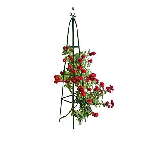 Relaxdays Rankturm Metall 190 cm freistehende Rankhilfe für Kletterpflanzen Ranksäule für Garten und Balkon grün
