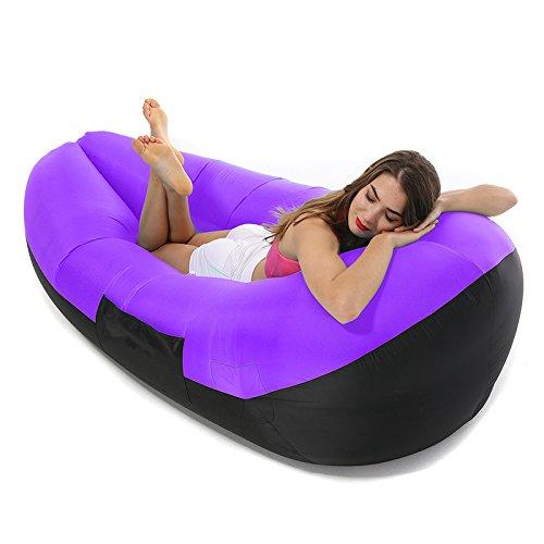 Aufblasbare Liege Air Sofa aufblasbar Liege Couch Blow Couch Pool Float Strand Liege mit Tragetasche Outdoor Sitzsäcke geeignet für Camping und Festivals violett violett 787x335x276inch