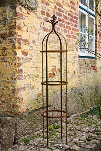 KUHEIGA Stabile Rankhilfe Metall H 160cm Ø 37cm Rankgerüst Obelisk RoheisenRost