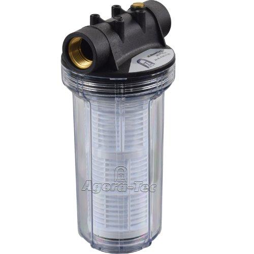 Agora-Tec AT-Wasserfilter 2L mit Max Betriebsdruck 4 bar Max Durchflussmenge 3000 lh Maschenweite Filtersieb 02 mm Anschlüsse 1 Zoll 303 mm IG Messingbuchsen