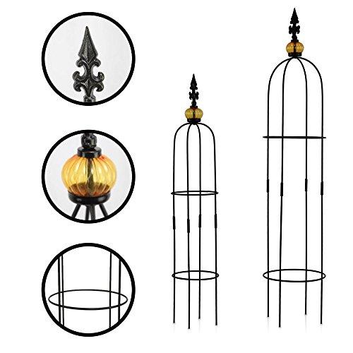 1PLUS Metall Rankhilfe Obelisken Set 2 Stück Höhe 805 und 100 cm in versch Farben - rost-geschützte Garten Rosen Säule Allgold Schwarz