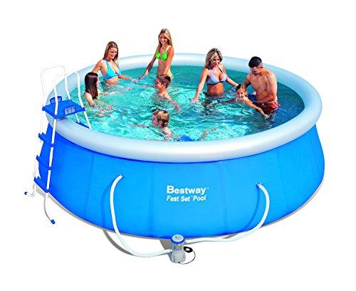 Bestway 57148 Fast Set Pool Set mit Filterpumpe  Zubehör 457x122cm