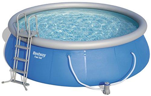 Fast Set Pool Komplettset rund mit Kartuschenfilterpumpe Leiter Boden- Abdeckplane 457x122 cm blau