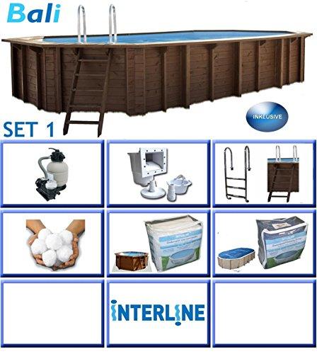 Interline 50700241 Bali Auf-und Erdeinbau POOLSET 1 Holzwand oval Pool 640m x 400m x 138m Filteranlage mit Filterbällen 6m³h besser als reine Sandfilteranlage