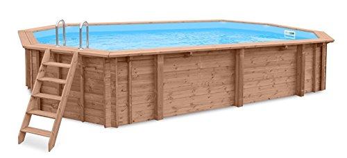Schwimmbad PACIFIC PARADISE Gartenpool Auf- und Erdeinbau Holz Längliches Schwimmbecken 814 x 460 x 138 m Pumpe Poolleiter Skimmer