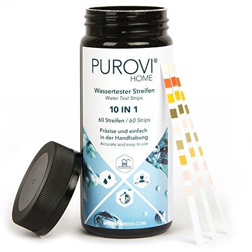 Purovi Pooltester  Wassertest Streifen für Pool Aquarium  ph Wert Chlor Blei Nitrat Eisen  60 Streifen