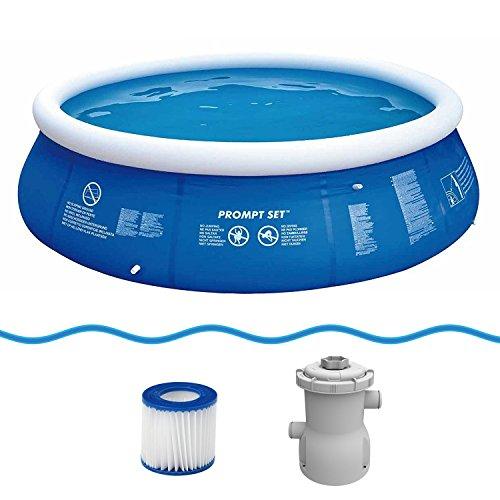 Jilong Marin Blue Rundpool Set Ø 360x84 cm mit Becken Pumpe Filter-Kartusche Quick-Up Swimming Pool Fast-Set Kinder und Familien Schwimmbecken Schwimmbad für Garten und Terasse