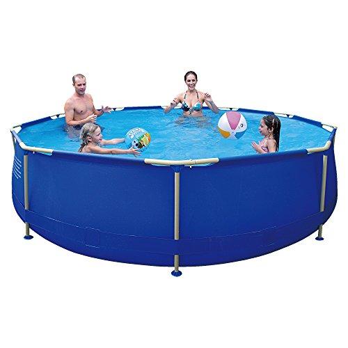 Jilong Sirocco Swimming Pool Set Ø 450x122 cm mit Becken Pumpe Leiter Abdeckplane Bodenplane Stahlrohr Schwimmbecken Stahlrahmen Schwimmbad Familienpool inkl Zubehör