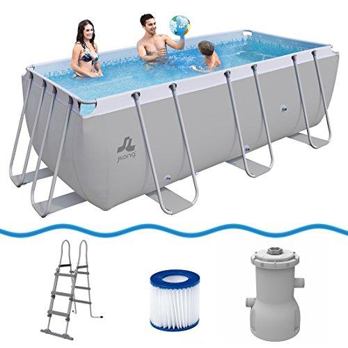 Jilong Swimming Pool Set Passaat Grey - Schwimmbad 400x200x99 cm Stahlrahmen-Schwimmbecken mit Filterpumpe und Poolleiter Familienpool für Garten und Terasse