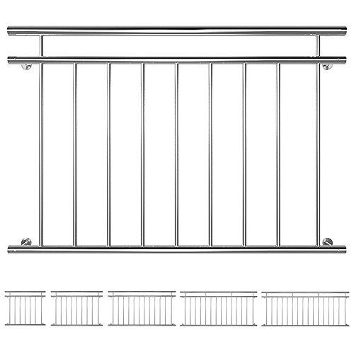 V2Aox Edelstahl Französischer Balkon Geländer Balkongeländer 90 x 100-225 cm Breite128 cm