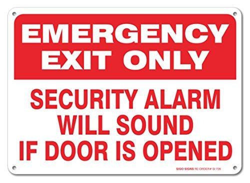 Metall Raum Notausgang Nur Sicherheit Alarm Ertönt Wenn Tür ist Geöffnet Schild Aluminium Wand Poster Yard Zaun Decor Schild Geschenk