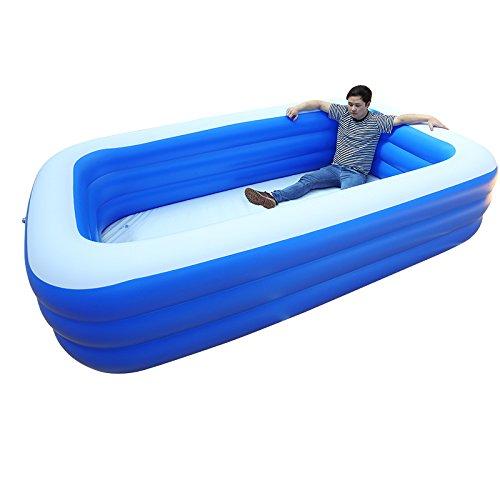 GUOHONG-CX Aufblasbares Schwimmbecken Grün PVC Kunststoff übergroße Pool Kinder Zu Hause Verdickung Baby Schwimmen Badewanne Erwachsenen Familie Baden PoolSkyBlue-260  160  68cm