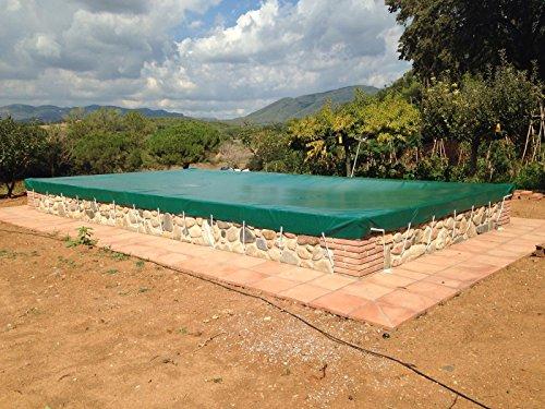 Winterabdeckung für Schwimmbecken Opak für Pool von 55 x 3 Metern bis 125 x 7 Meter Winterschutzabdeckung aus PVC mit 650 gm2 88 x 5 grünaußenBeigeinnen