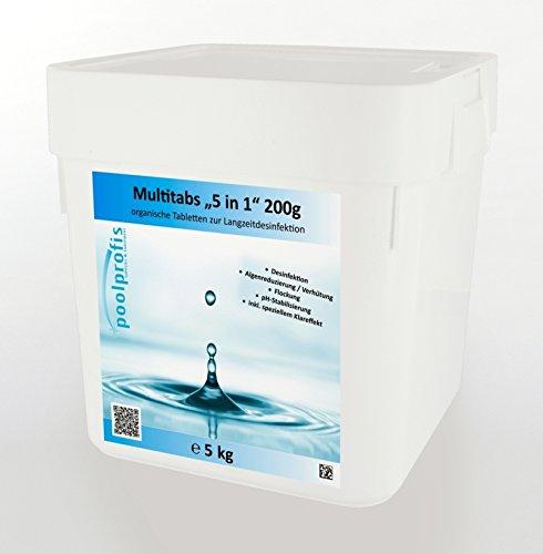 10 kg 2 x 5 kg Chlor Multitabs 5 in 1 Multi Tabs Pool 200g