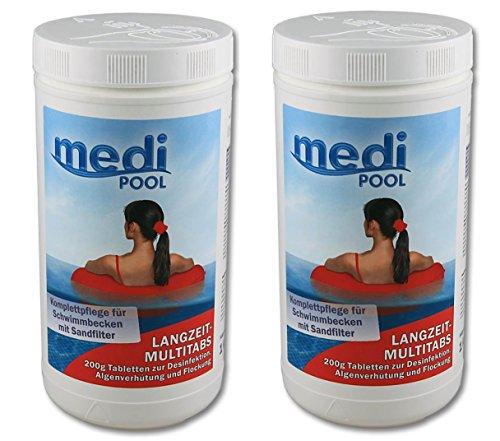 mediPOOL 507601MP Langzeit MultiTabs 200g 2 x 1KG Chlor Multifunktionstabletten
