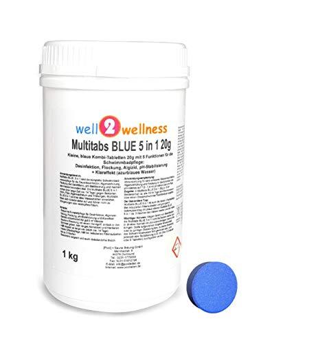 well2wellness Chlor Multitabs Blue 5 in 1 20g  Kleine Blaue Multitabs 5 in 1 a 20g - 10 kg