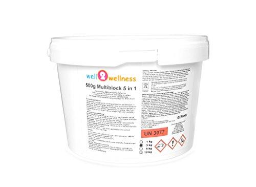 well2wellness Chlortabletten Multitabs 5 in 1 500g Blockgroßer Chlor Multiblock 500g - 30 kg