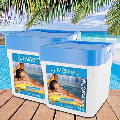 Miganeo Ph Minus Senker Granulat Wasser-Pflege Wert für Pool Schwimmbad Teich gegen Algen 15 Kg