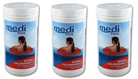SPAR-PACK  3 x Schnell-Chlor Granulat 10 kg  mediPOOL 501601MP  sehr schnell lösliches Chlorgranulat zur Stoß- und Dauerdesinfektion